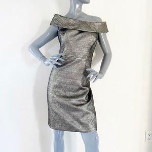 Teri Jon Gold Metallic Off the Shoulder Dress